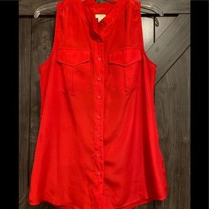 JCREW red shirt sleeved button blouse